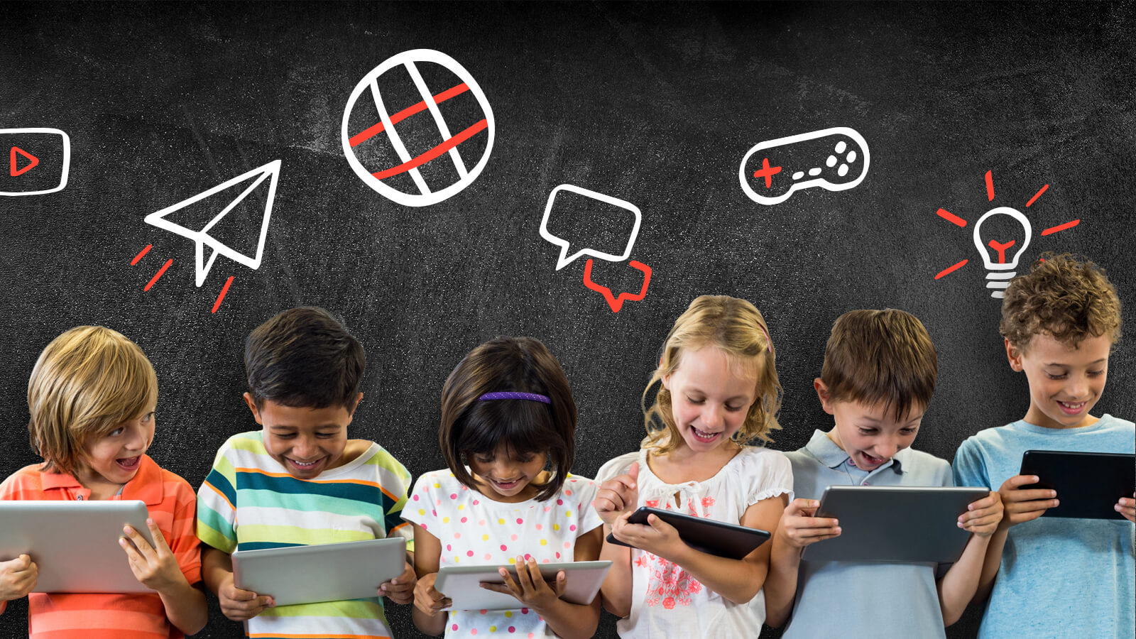 line of children on digital devices with chalk illustrations behind them