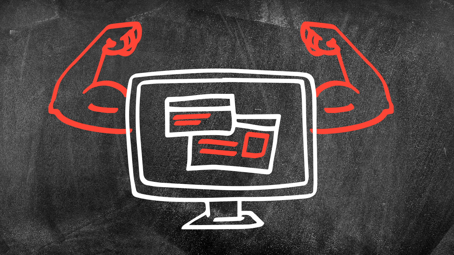 chalkboard drawing of computer with muscles