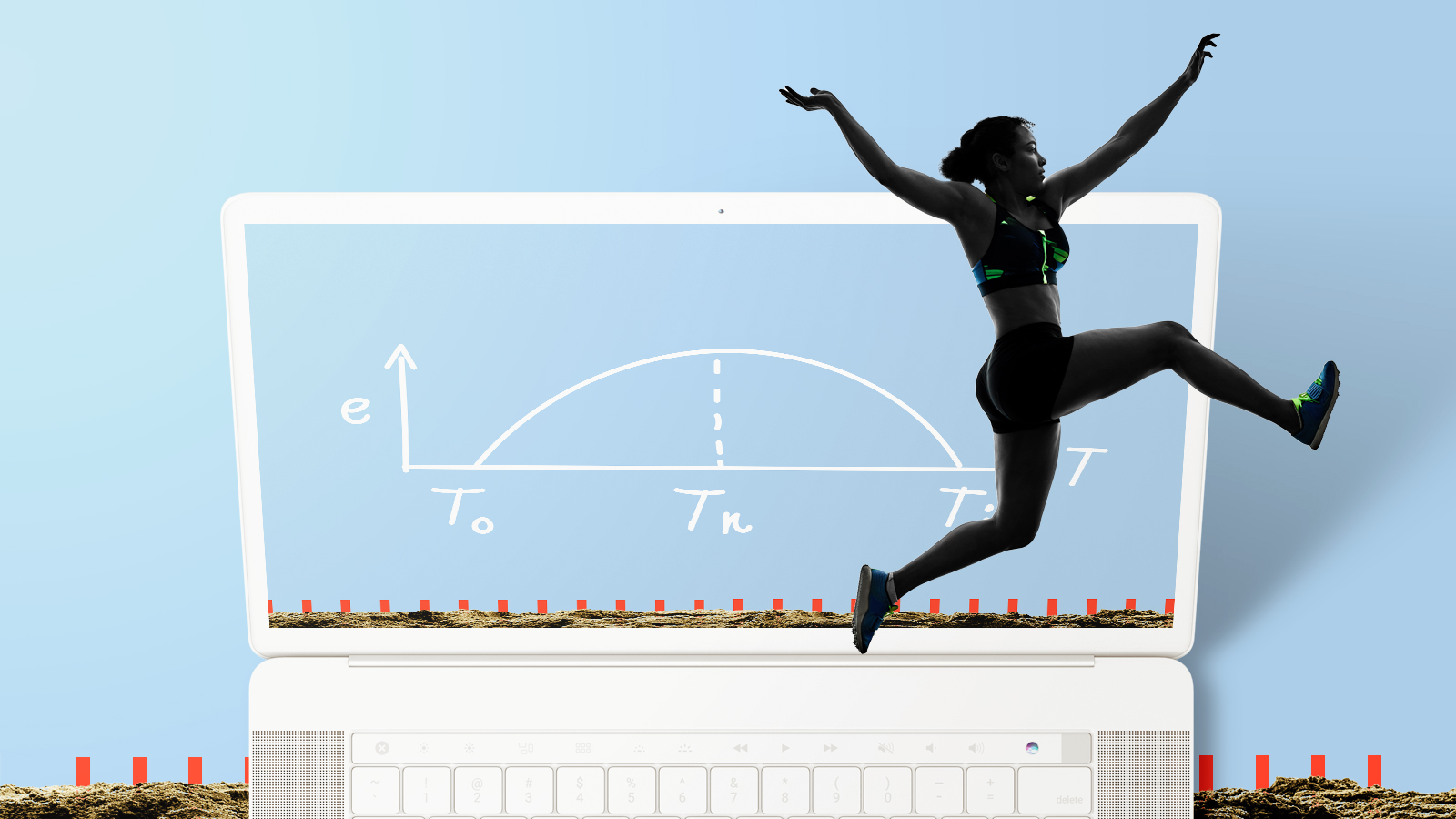 woman does long jump in front of computer